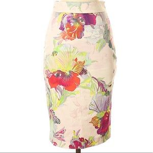 TED BAKER Floral Pink Pencil Skirt 0 Small NWOT